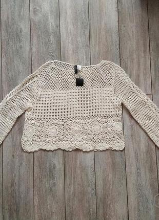Новый шикарный кружевной свитер н&м 46-48р